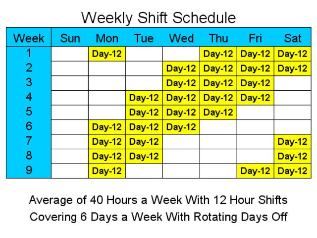Click to view 12 Hour Schedules for 6 Days a Week screenshots