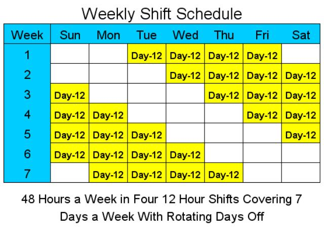 12 Hour Schedules for 7 Days a Week