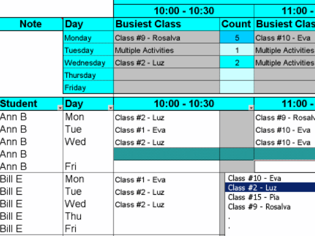 Create Student Class Schedules with Excel