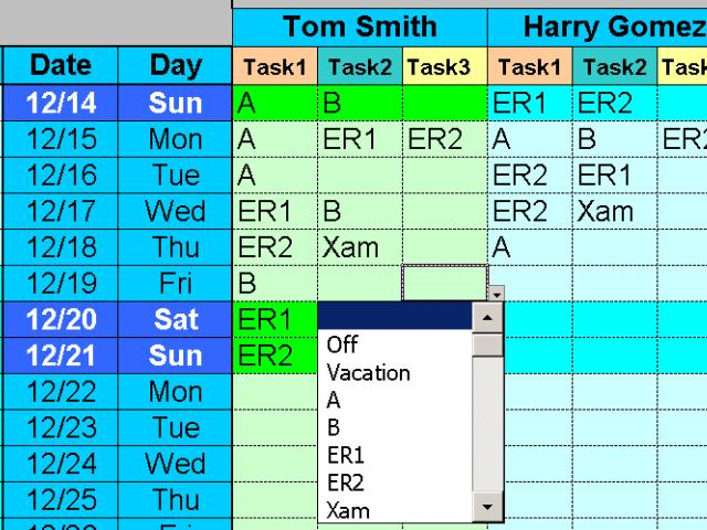 Employee Task Scheduling for up to One Year with Excel