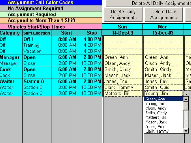 Complex Shift Schedules for 25 People with Excel. Screen Shot
