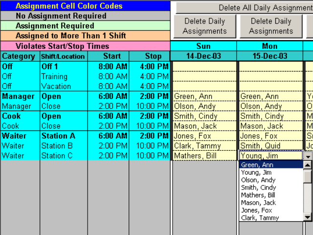 Complex Shift Schedules for 25 People Screen shot