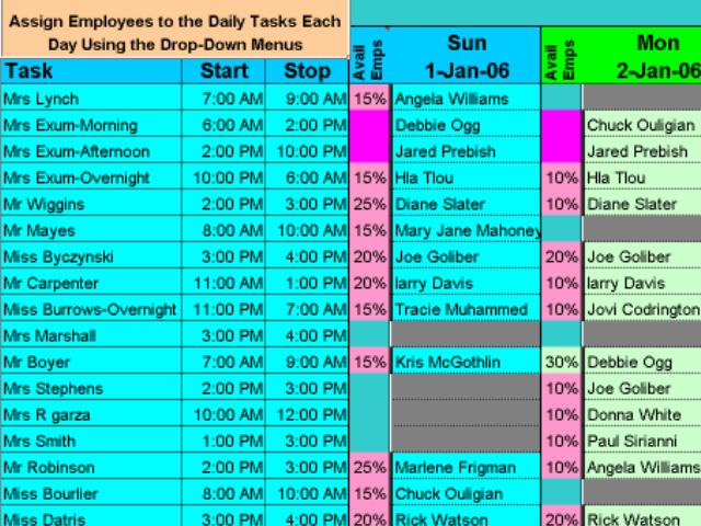 Schedule Multiple Daily Tasks for Your Employees with Excel