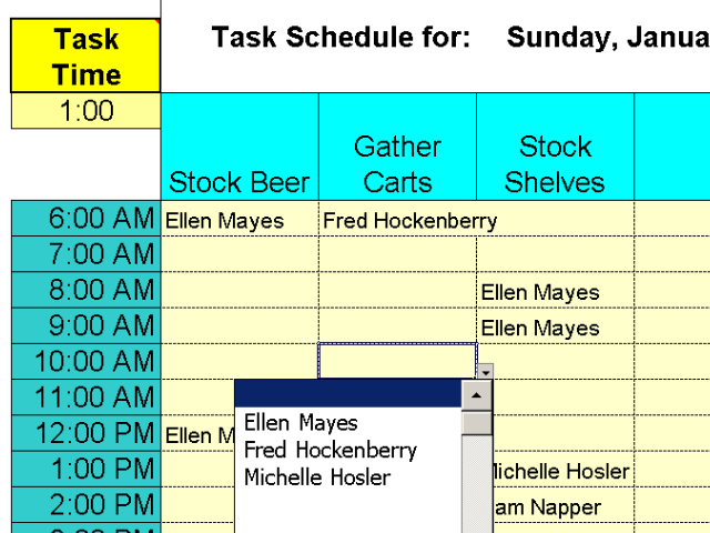 Daily Shifts and Tasks for 25 Employees screenshot