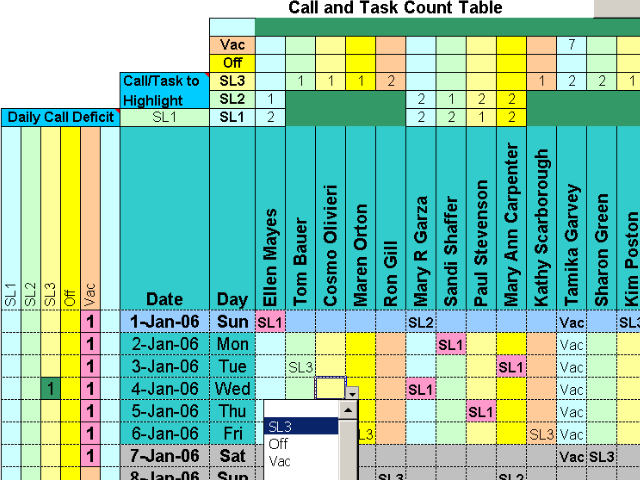 Click to view Doctors Calls for a Year with Excel screenshots